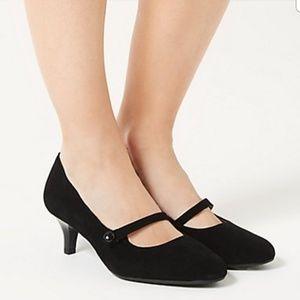 footglove wider fit suede kitten heel court shoes